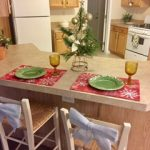 Breakfast nook decorated for the holidays